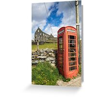 Red Telephone Box and Slate Mill Ruins Greeting Card