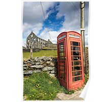 Red Telephone Box and Slate Mill Ruins Poster