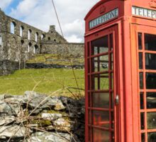 Red Telephone Box and Slate Mill Ruins Sticker