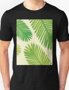 Tropical Leaf Print, Green Leaves Palm Tree Minimal T-Shirt