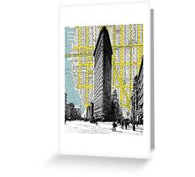 1905 Flatiron Building with Map Behind New York City Greeting Card