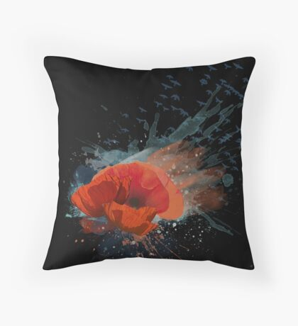 Beautiful Watercolor Poppies Throw Pillow