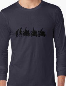 Evolution of man.  Sport bike ergonomics.  Motorcycle. Long Sleeve T-Shirt