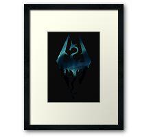 Skyrim Logo - Northern Lights Framed Print