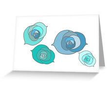 Blue Winter Roses Greeting Card