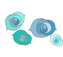 Blue Winter Roses Photographic Print