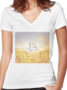 Soul in Peace Women's Fitted V-Neck T-Shirt