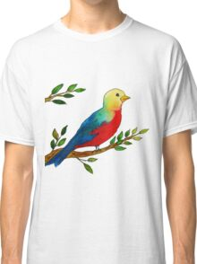 Watercolor colorful little bird on a branch Classic T-Shirt