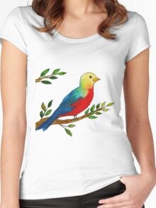 Watercolor colorful little bird on a branch Women's Fitted Scoop T-Shirt
