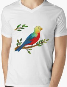 Watercolor colorful little bird on a branch Mens V-Neck T-Shirt