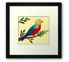 Watercolor colorful little bird on a branch Framed Print
