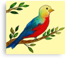 Watercolor colorful little bird on a branch Canvas Print
