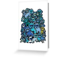 The Shiny Blue Monkey Pile Accepts the Odd Monkey Out Greeting Card