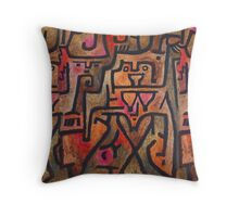 Klee Red Abstract Expressionist Painting Throw Pillow