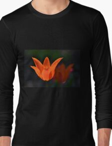 Backlit Orange Tulip Long Sleeve T-Shirt