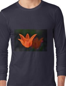 Backlit Orange Tulip Long Sleeve T-Shirt