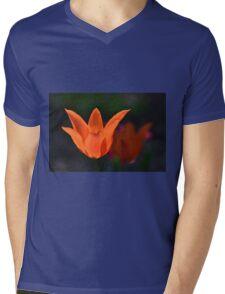 Backlit Orange Tulip Mens V-Neck T-Shirt