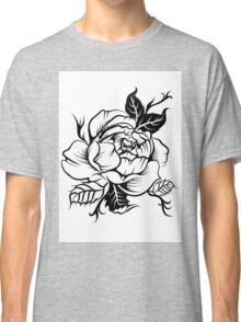 black and white tattoo peony Classic T-Shirt
