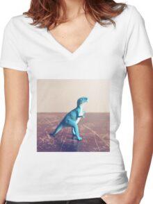 Blue Dinosaur  Women's Fitted V-Neck T-Shirt