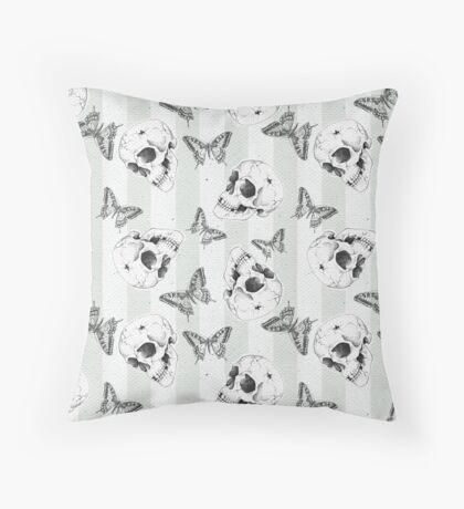 Skulls and butterflies pattern Throw Pillow