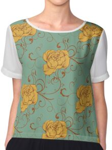 Luxurious color peony pattern Chiffon Top