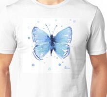 Blue Butterfly Watercolor Painting Unisex T-Shirt