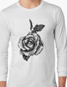 black and white tattoo rose drawing Long Sleeve T-Shirt