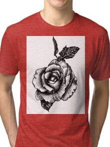 black and white tattoo rose drawing Tri-blend T-Shirt