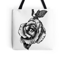 black and white tattoo rose drawing Tote Bag