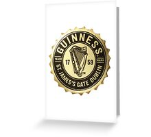 GUINNESS BOTTLE CAP BLACK & GOLD Greeting Card