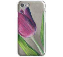 Spring blooming tulip flower original oil pastel painting iPhone Case/Skin