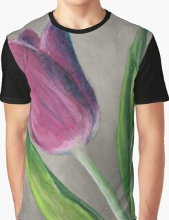 Spring blooming tulip flower original oil pastel painting Graphic T-Shirt