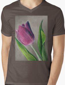 Spring blooming tulip flower original oil pastel painting Mens V-Neck T-Shirt
