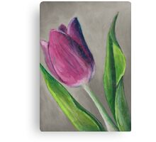 Spring blooming tulip flower original oil pastel painting Canvas Print