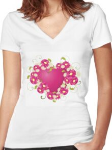 design with Floral heart  Women's Fitted V-Neck T-Shirt