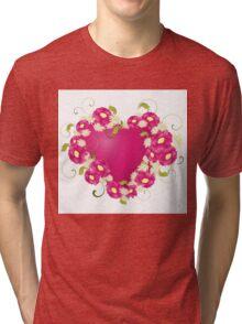 design with Floral heart  Tri-blend T-Shirt