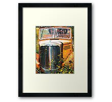 Fire Truck  and Flowers Framed Print
