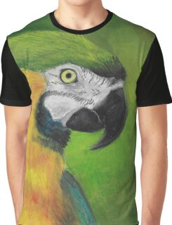 green and gold parrot macaw original oil pastel painting Graphic T-Shirt
