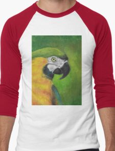 green and gold parrot macaw original oil pastel painting Men's Baseball ¾ T-Shirt