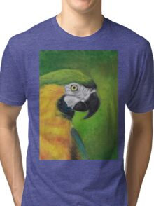 green and gold parrot macaw original oil pastel painting Tri-blend T-Shirt