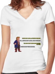 Guybrush Threepwood vs Meathook Women's Fitted V-Neck T-Shirt