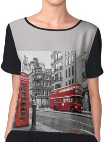 London bus red telephone Chiffon Top