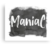 Maniac White Marker on Black Ink Fun Design Canvas Print