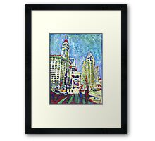 Chicago Picture. Red White and Blue Framed Print