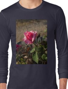 Spring Glow In Pink - a Sweetheart Rosebud With Dewdrops Long Sleeve T-Shirt