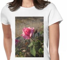 Spring Glow In Pink - a Sweetheart Rosebud With Dewdrops Womens Fitted T-Shirt