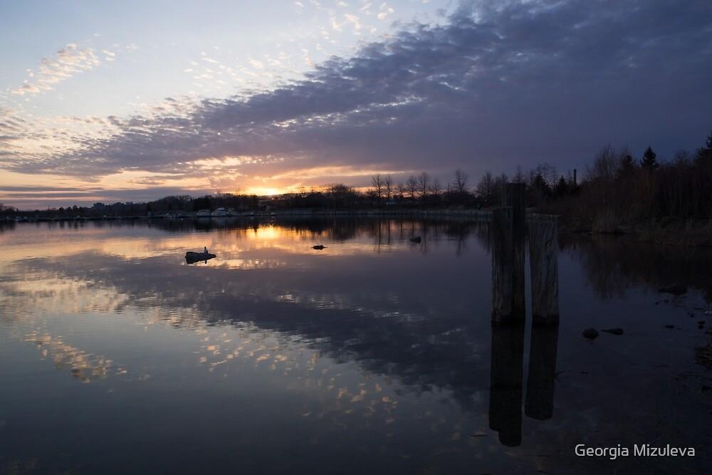Sunset Sentinels - Three Pillars Guarding the Sundown Reflections by Georgia Mizuleva