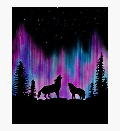 Aurora Wolves 2 by Leslie Berg Photographic Print