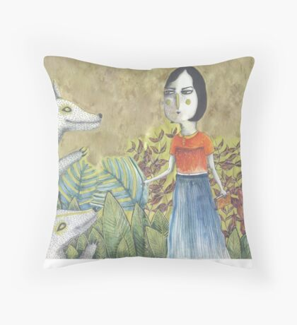 Lady Dances with Wolves Throw Pillow