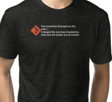 Two branches diverged on git (for dark tees) Tri-blend T-Shirt